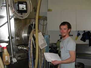 Joe monitoring fermentation