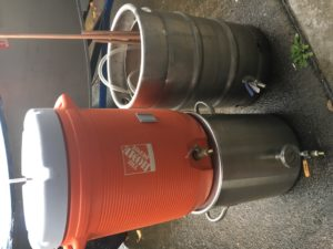 a kettle, keg kettle, and mash tun